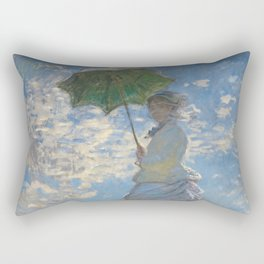 Woman with a Parasol - Madame Monet and Her Son Rectangular Pillow