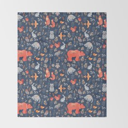Fairy-tale forest. Fox, bear, raccoon, owls, rabbits, flowers and herbs on a blue background. Seamle Throw Blanket