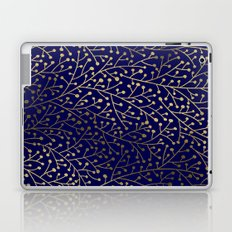 Gold Berry Branches on Navy Laptop & iPad Skin
