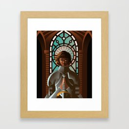 joan of arc praying Framed Art Print