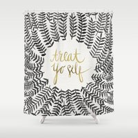 treat yo self Shower Curtains featuring Treat Yo Self – Black & Gold by Cat Coquillette