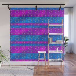 Foil Flower in Pink and Blue Wall Mural