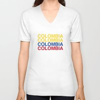 colombia V-neck T-shirts featuring COLOMBIA by eyesblau