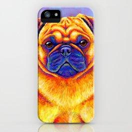 Colorful Rainbow Pug Portrait iPhone Case
