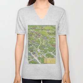 DENISON University map GRANVILLE OHIO Unisex V-Neck