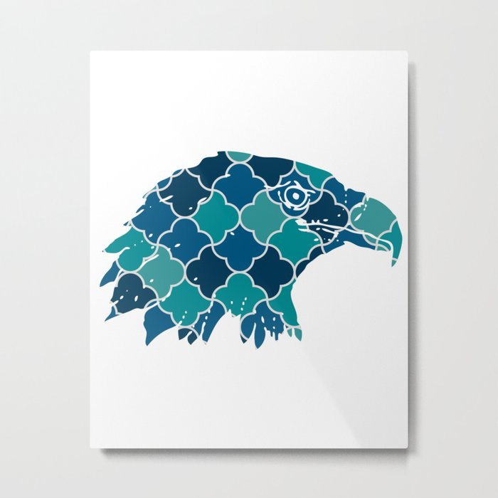 EAGLE SILHOUETTE HEAD WITH PATTERN Metal Print