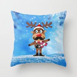 Сheerful deer. Merry Christmas! Throw Pillow
