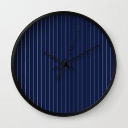 Navy Blue Pinstripes Line Wall Clock