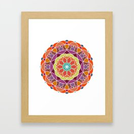 Flame mandala fractal design Framed Art Print