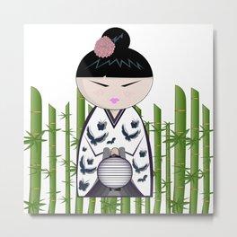 Bamboo kokeshi Metal Print