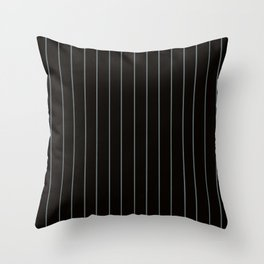 Black with Gray Pinstripes Throw Pillow