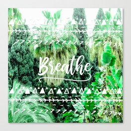 Modern typography breathe green tropical palm tree forest photography white boho geometric Canvas Print