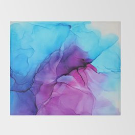 Aqua Pop - Alcohol Ink Painting Throw Blanket