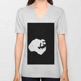 White-and-black dog Unisex V-Neck