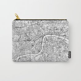 London City Map The United Kingdom White and Black Carry-All Pouch