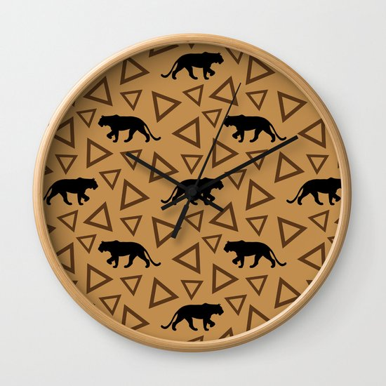 Wild African walking lioness silhouettes and abstract triangle shapes. Stylish classy warm brown latte color seamless retro vintage geometric animal nature pattern. by agnieszkazalewska