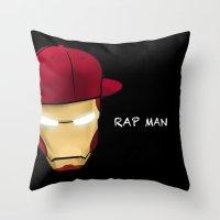 rap Throw Pillows featuring Rap man by Tony Vazquez