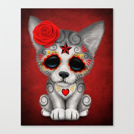 Red Day of the Dead Sugar Skull Wolf Cub Canvas Print