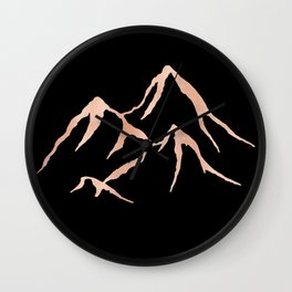 MOUNTAINS Rose Gold on Black Wall Clock