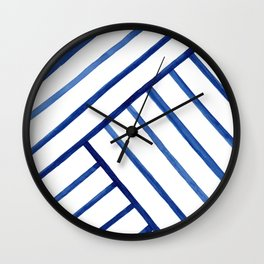 Watercolor lines pattern | Navy blue Wall Clock