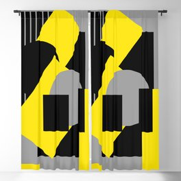 Geometrical abstract art deco mash-up gray yellow Blackout Curtain