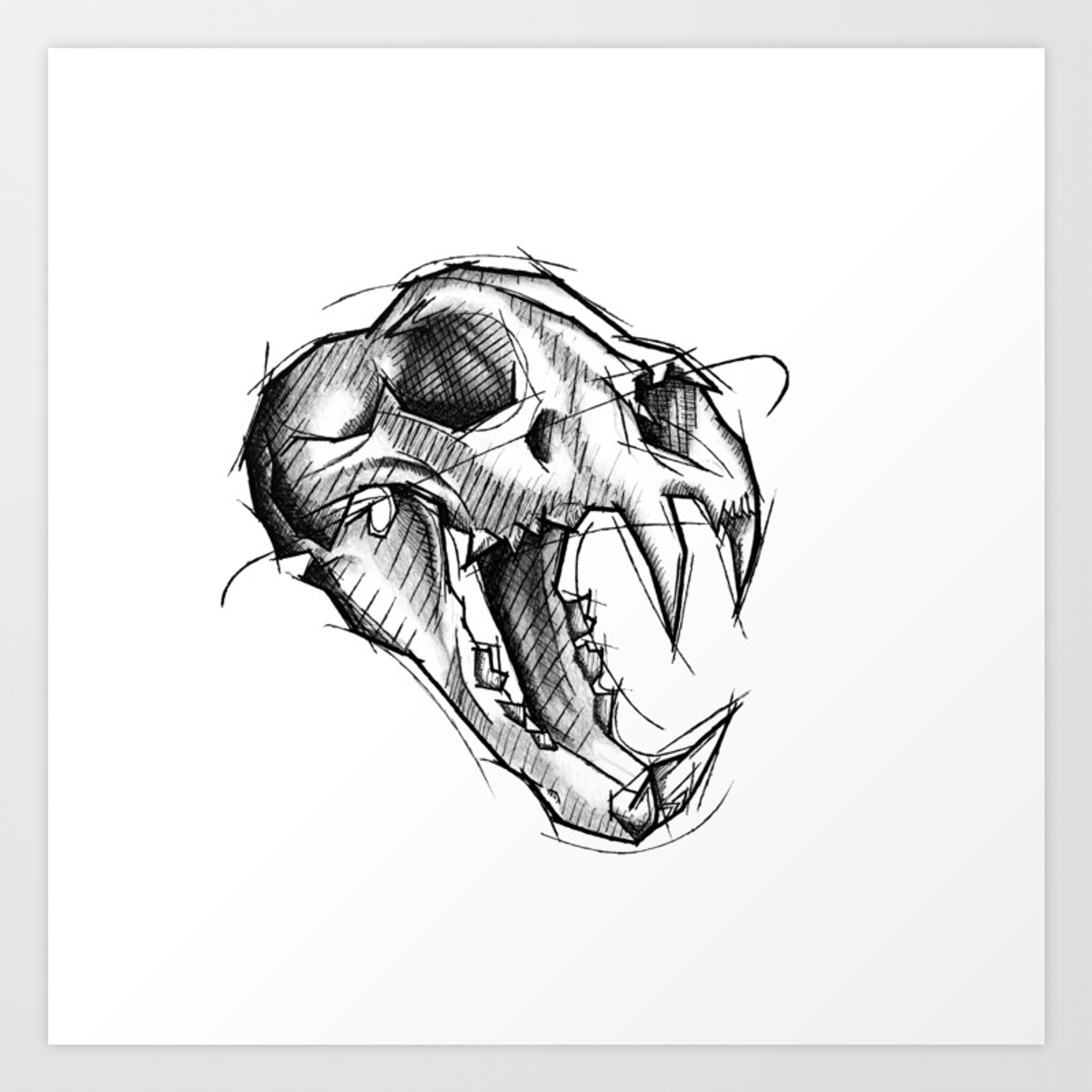 Tiger skull handmade drawing made in pencil charcoal and ink tattoo sketch tattoo flash sketch art print