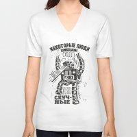 bukowski V-neck T-shirts featuring bukowski robot by Triptih