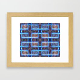 geometric ink blot and smudge ancient techno geek pattern Framed Art Print