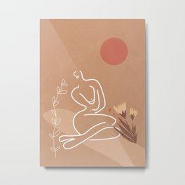 Woman in Nature Illustration Metal Print