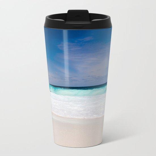 Tropical Turquoise Waves Metal Travel Mug