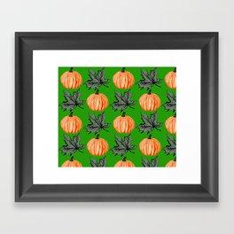 Pumpkin Grass-green Autumn Leaf Framed Art Print