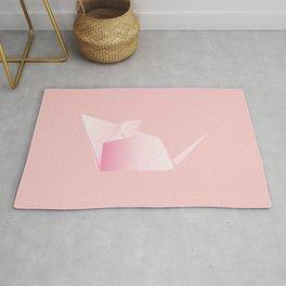 Paper folded, origami pink mouse or rat design Rug