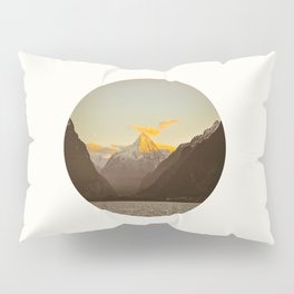 MidCentury Modern Circle Photo Parallax Mountains Distant Snow Capped Mountain With Yellow Tip Pillow Sham