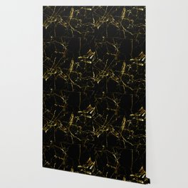 Golden Marble - Black and gold marble pattern, textured design Wallpaper