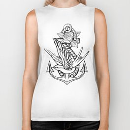 Anchor Swallow & Rose Old School Tattoo Style Biker Tank