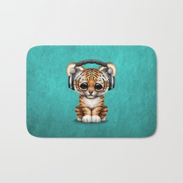 Cute Tiger Cub Dj Wearing Headphones on Blue Bath Mat