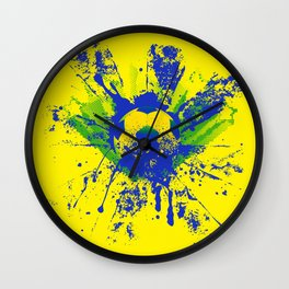 Green, blue, yellow soccer ball Wall Clock