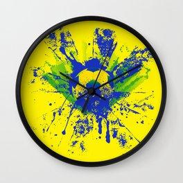 Green, blue, yellow soccer ball Wall Clock