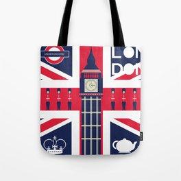 Vintage Union Jack UK Flag with London Decoration Tote Bag