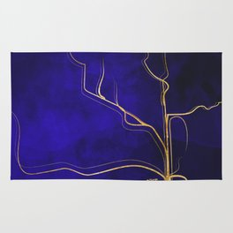 Kintsugi Gold Royal Blue Watercolor Rug
