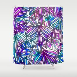 Hand painted neon pink teal blue watercolor floral Shower Curtain