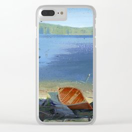 canoe on shore Clear iPhone Case
