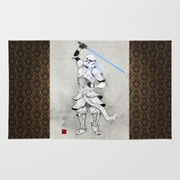 trooper Area & Throw Rugs featuring Samurai Trooper by happiestfung