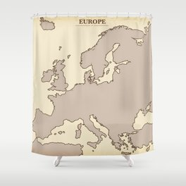 A vintage Map of Europe Shower Curtain