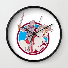 Knight Riding Horse Sword Circle Cartoon Wall Clock