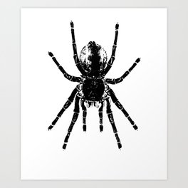 Scary Tarantula Spider Halloween Black Arachnid Art Print