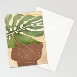 Woman with Monstera Leaf Stationery Cards