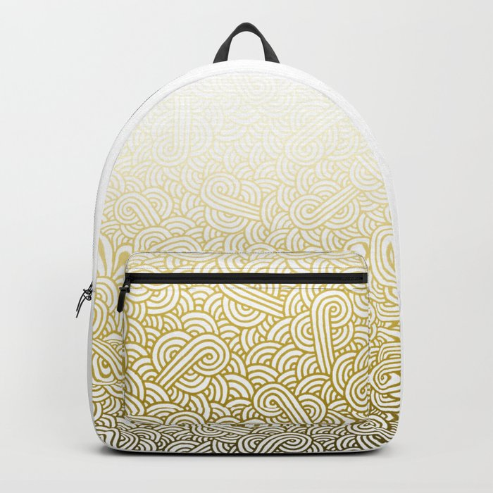 Gradient yellow and white swirls doodles Backpack