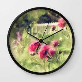 Pink Peonies In A Vintage Garden Wall Clock
