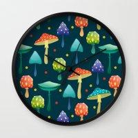 mushrooms Wall Clocks featuring Mushrooms by Julia Badeeva